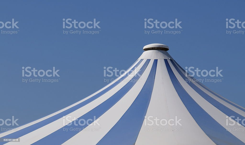 Circus tent and blue sky stock photo