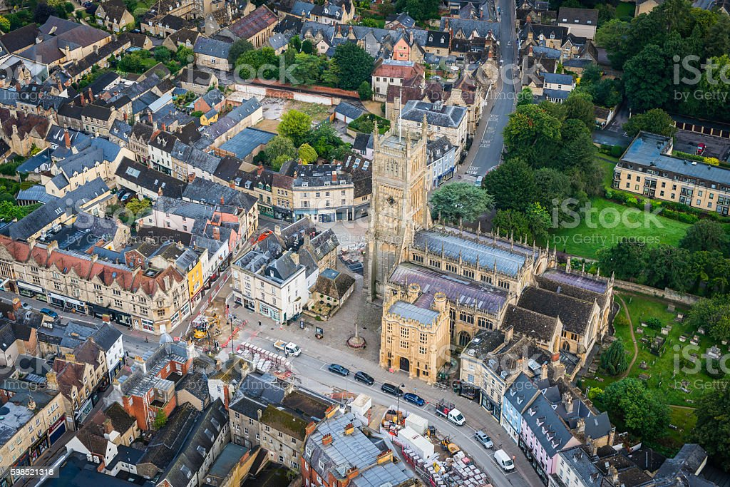 Cirencester abbey pretty Cotswold country town centre aerial view UK stock photo