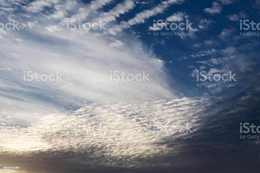 Cirrocumulus Cloudscaped at Sunset stock photo