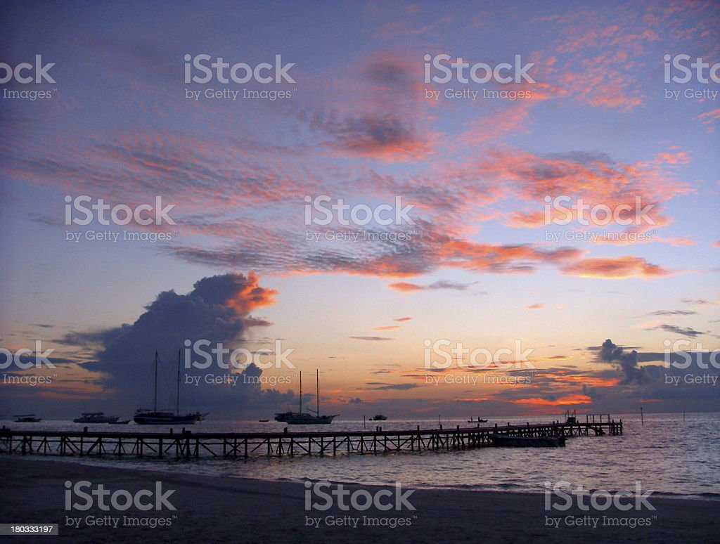 Cirrostratus Clouds at Sunset in The Maldives royalty-free stock photo