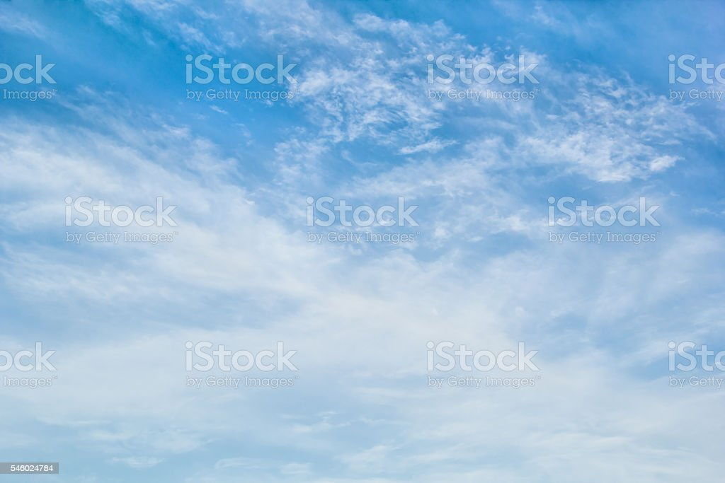 Cirrostratus clouds in the blue sky stock photo