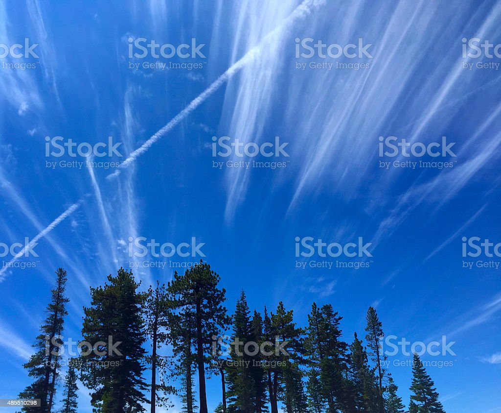 Cirrus and Contrail stock photo