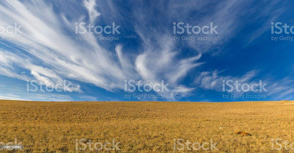 Cirrus clouds in the mountains Khizi.Azerbaiajan stock photo