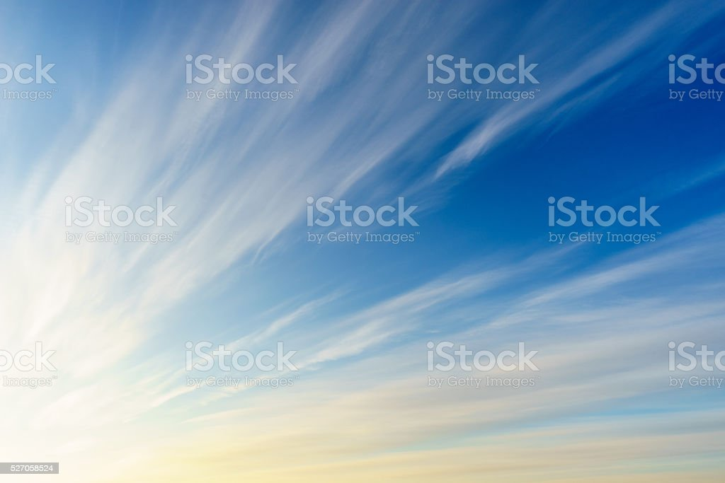 Cirrus clouds on blue sky stock photo
