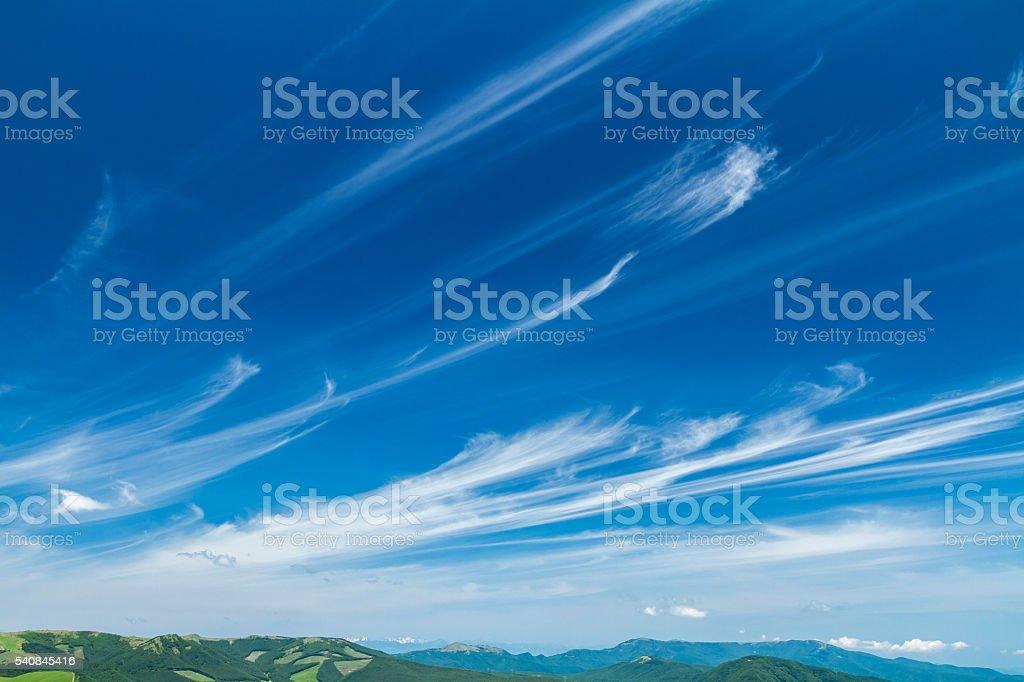 Cirrus in blue sky stock photo