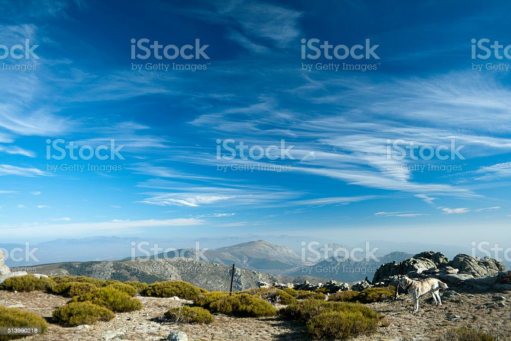 cirrus sky in Guadarrama Range stock photo