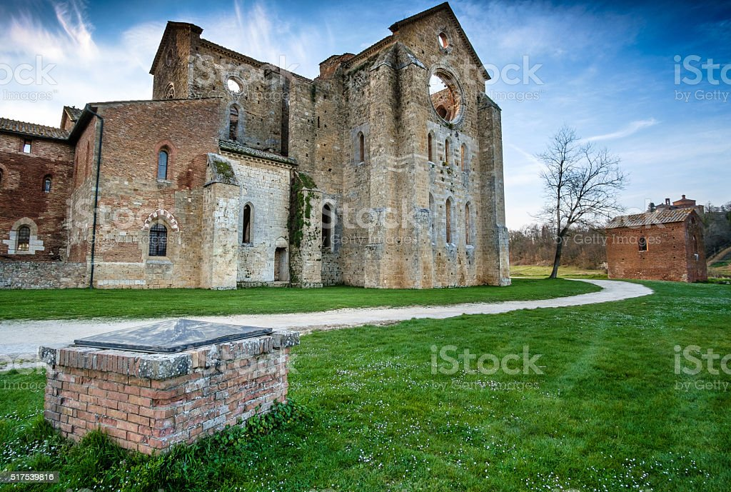 Cistercian Abbey of San Galgano near Chiusdino, Tuscany, Italy stock photo