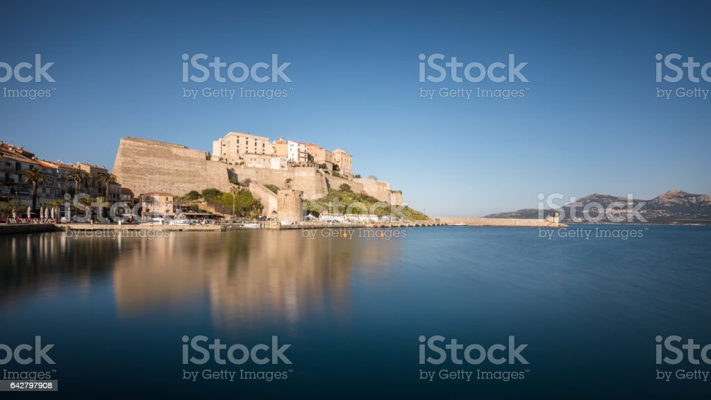 Citadel and harbour entrance at Calvi in Corsica stock photo