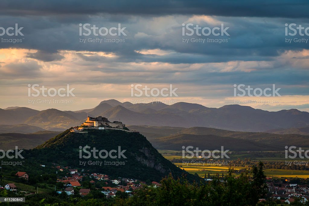 Citadel at Sunset in Deva, Transylvania, Romania stock photo