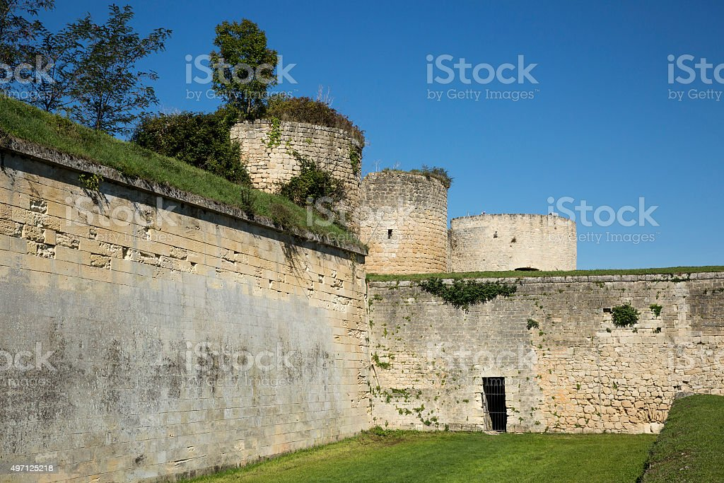 Citadel defensive boundary wall with tower stock photo