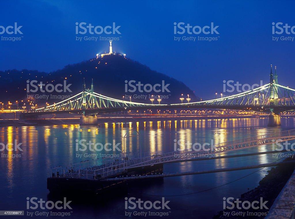 Citadella and Liberty Bridge in Budapest at night. stock photo
