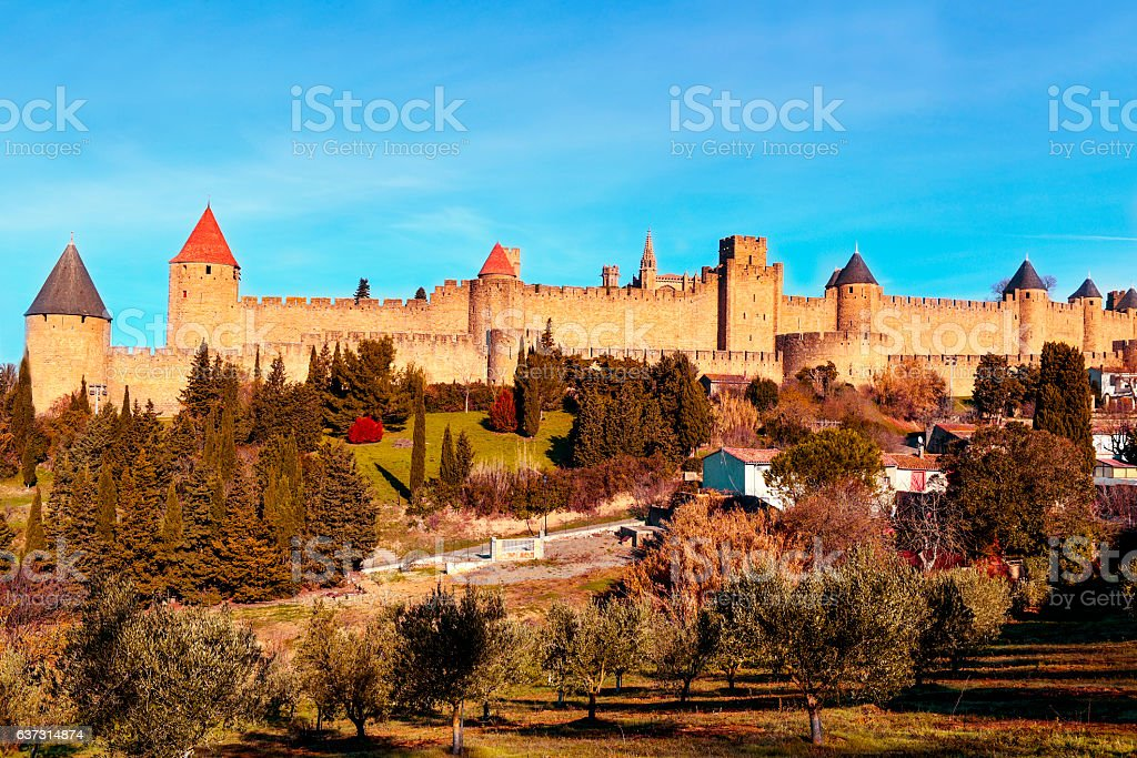 Cite de Carcassonne, in Carcassone, France stock photo