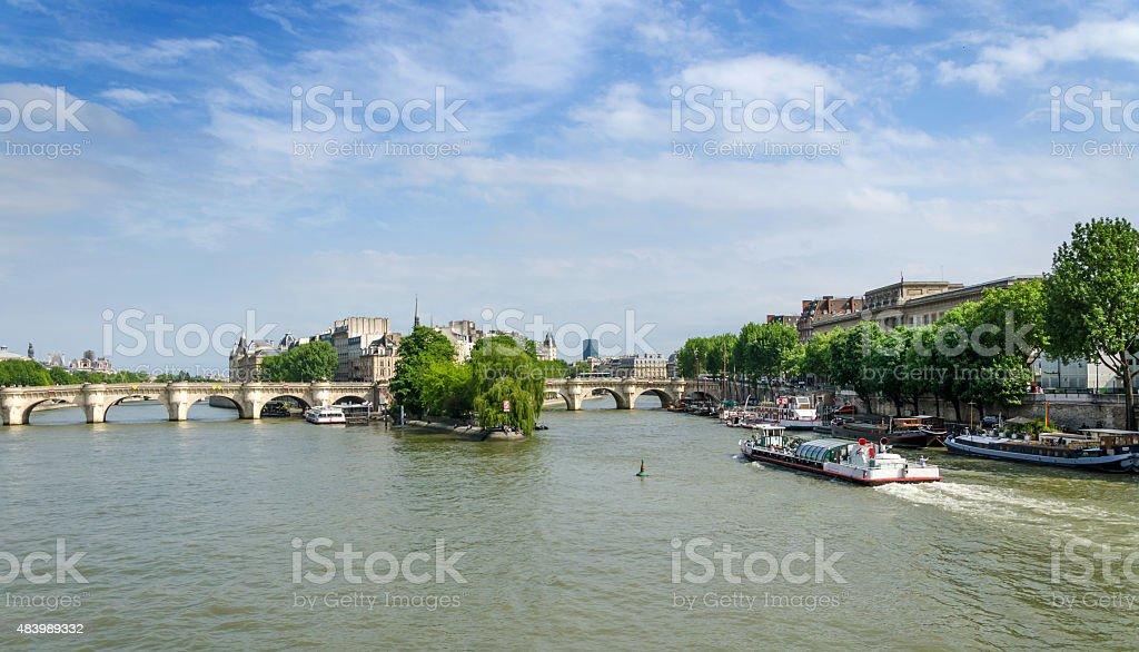 Cite Island and Pont Neuf bridge in Paris stock photo