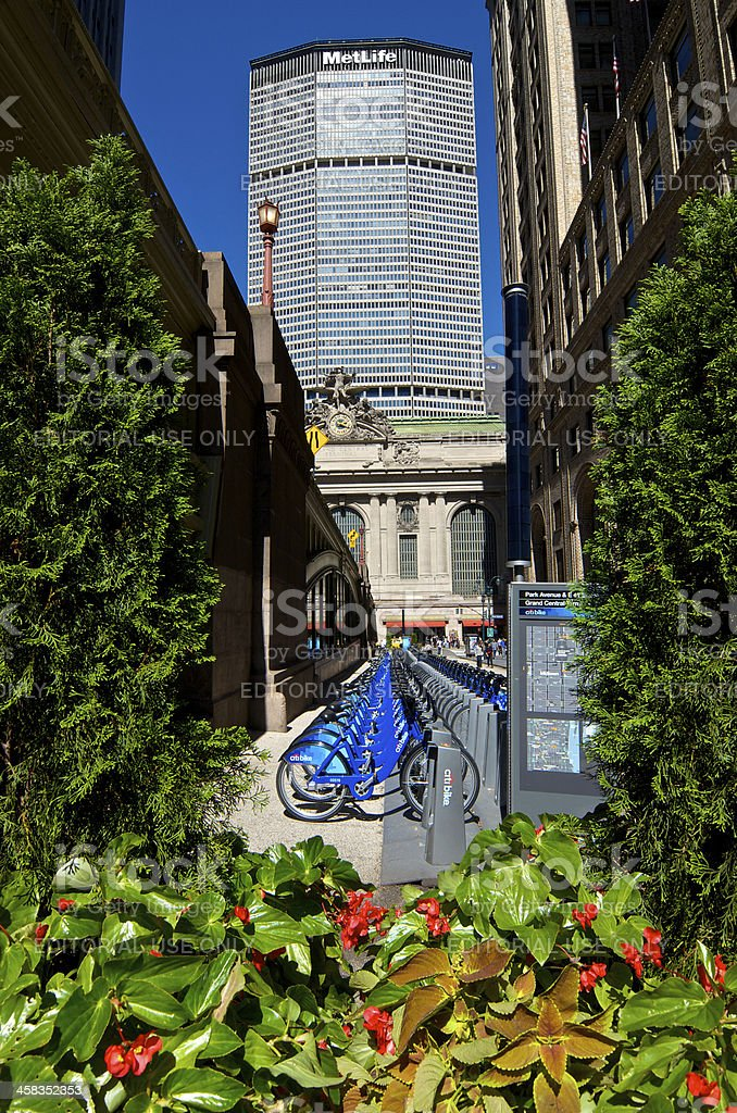 Citi Bike bicycle sharing station, Grand Central Terminal, Midtown, NYC stock photo