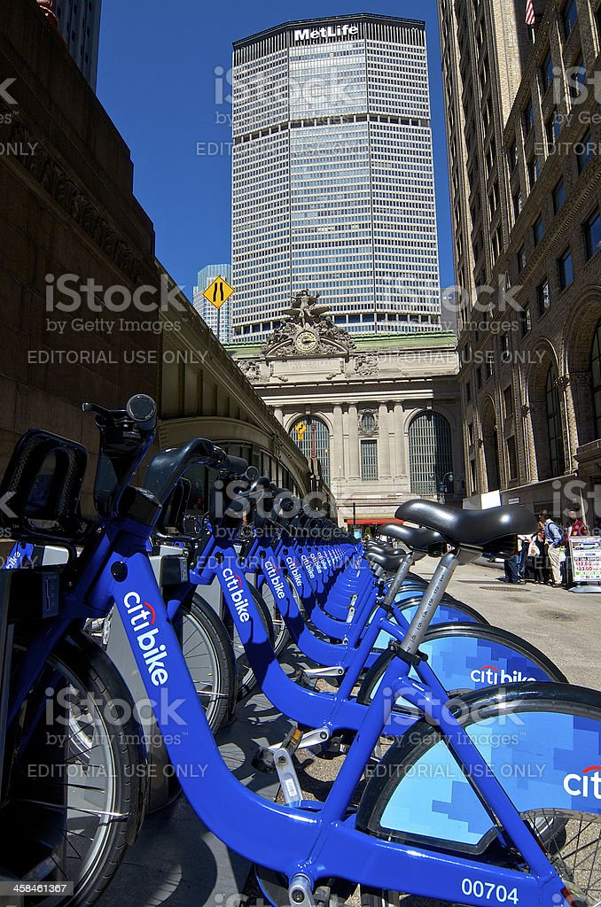 Citi Bike bicycle sharing station, Grand Central Terminal, Midtown, NYC royalty-free stock photo