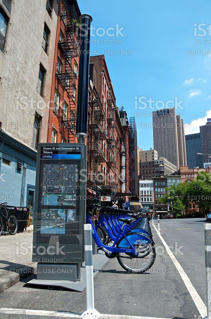 Citi bike bicycle sharing station, Tribeca, Manhattan, New York City stock photo