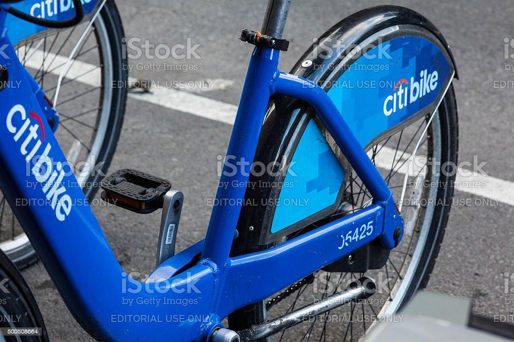 Citi bike parked on Lafayette street. NYC. stock photo