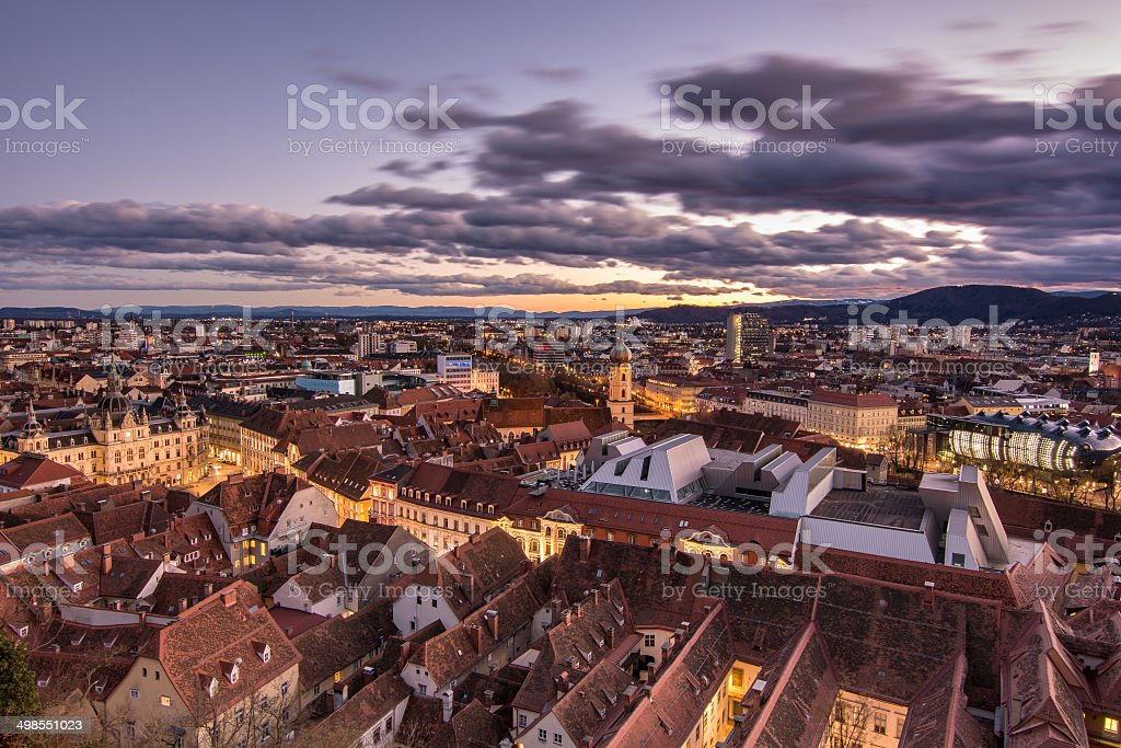 Citi view at sunset, Graz, Austria stock photo