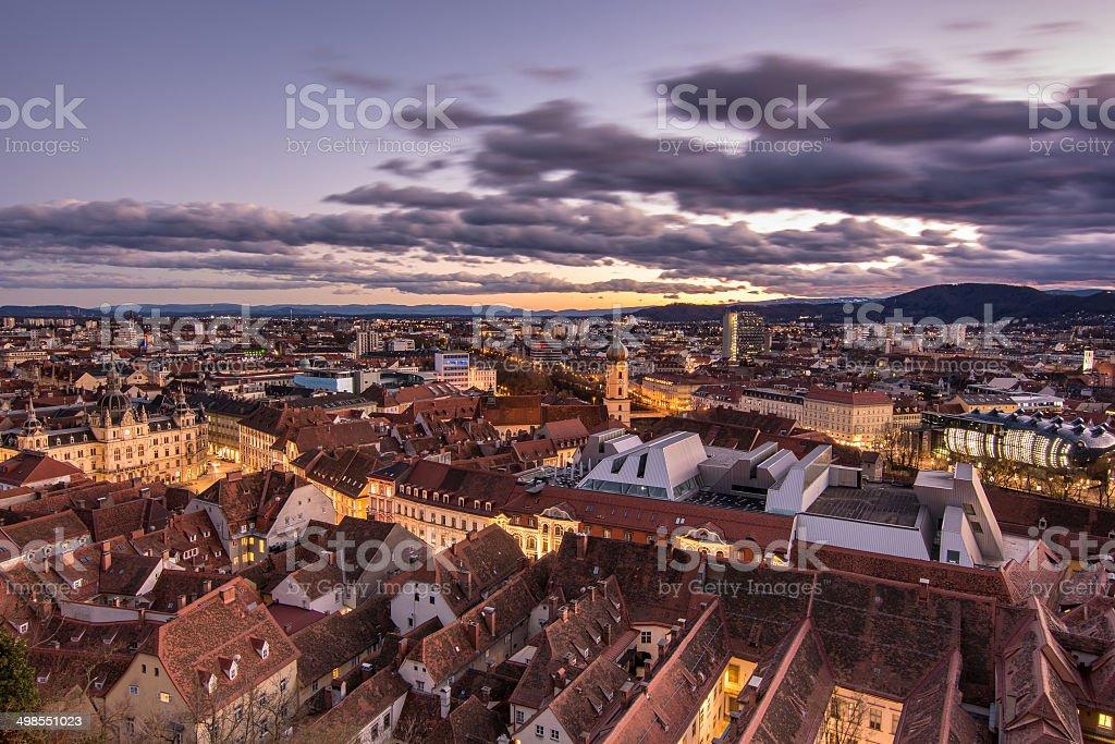 Citi view at sunset, Graz, Austria stock photo