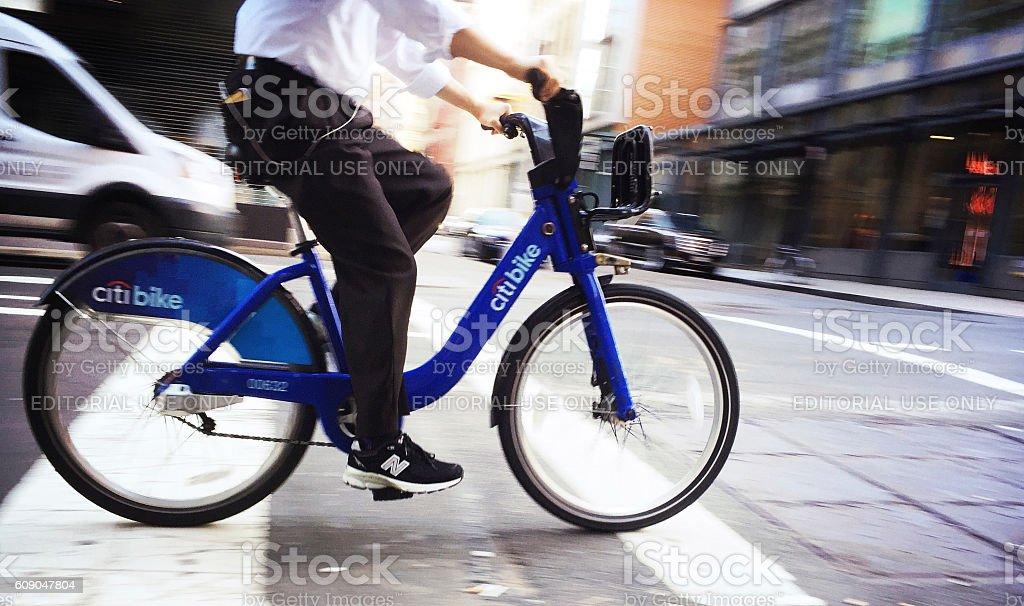 Citibike and Rider in Motion in Soho Manhattan stock photo