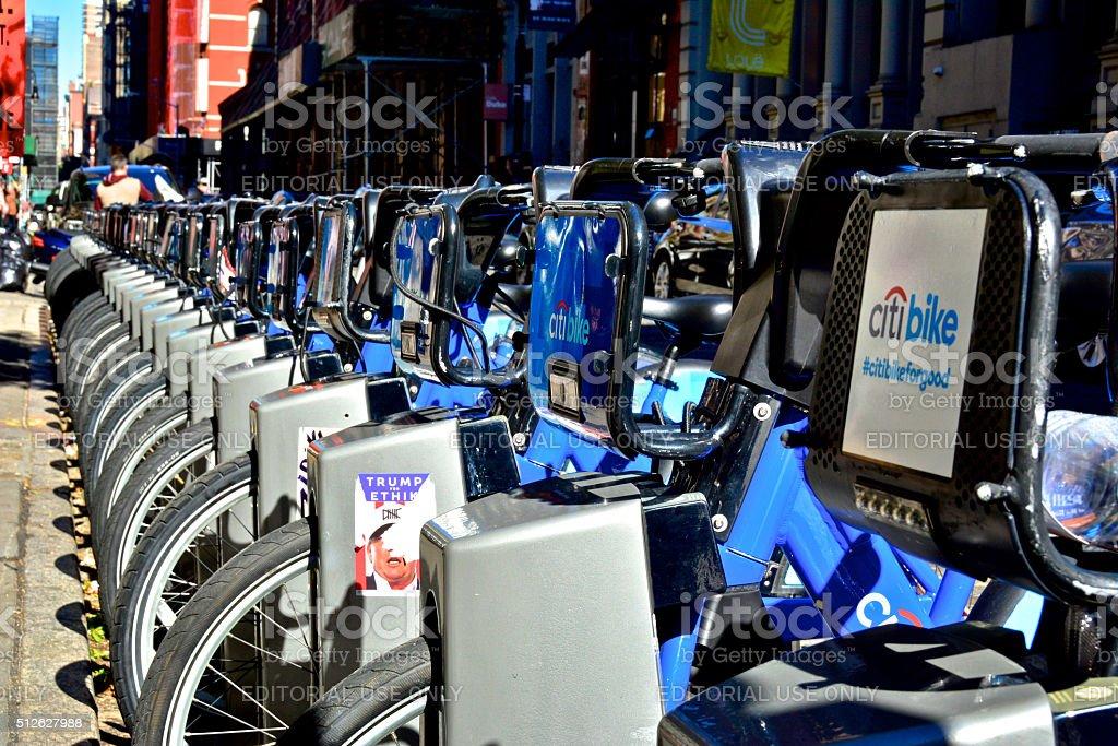 Citibike bicycle sharing station, SoHo Manhattan, New York City stock photo