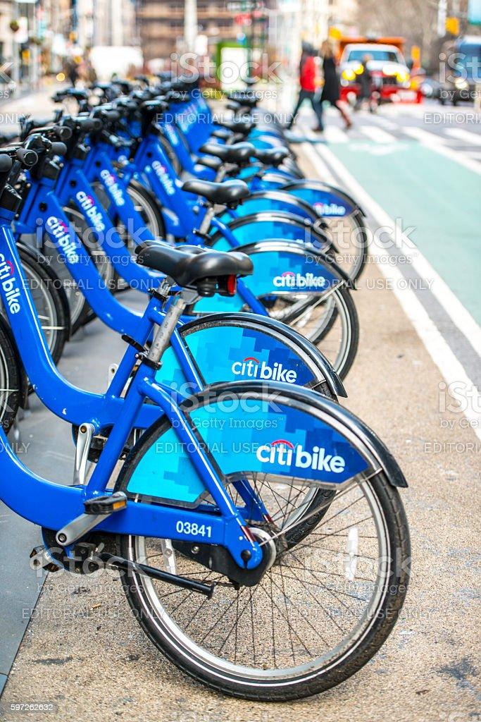 CitiBike sharing station in New York, USA stock photo