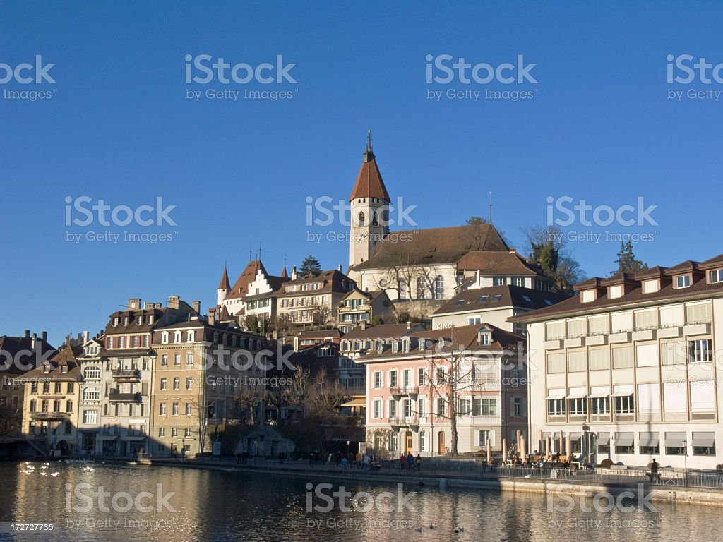 Cities; Castle of Thun in late afternoon stock photo