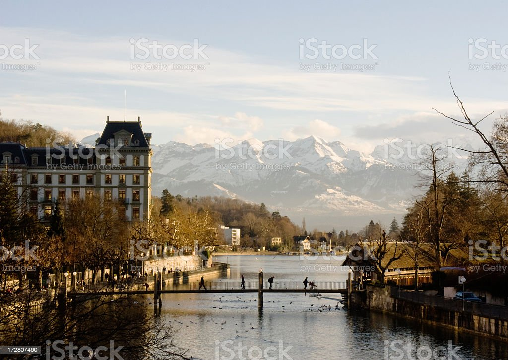 Cities; Thun, entrance to the Swiss Alps stock photo