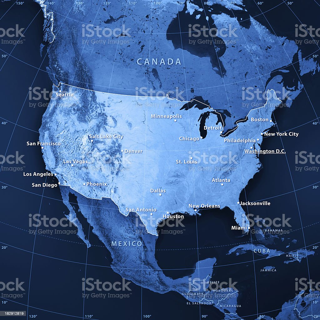 USA Cities Topographic Map stock photo