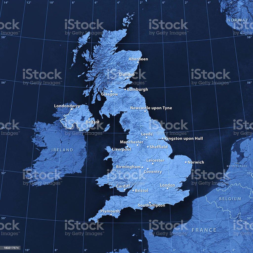 UK Cities Topographic Map stock photo