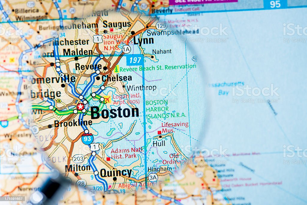 Cities under magnifying glass on map: Boston stock photo