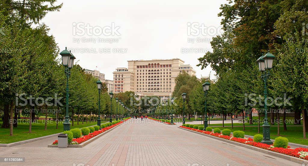 Citizens are walking in the Alexander Garden stock photo