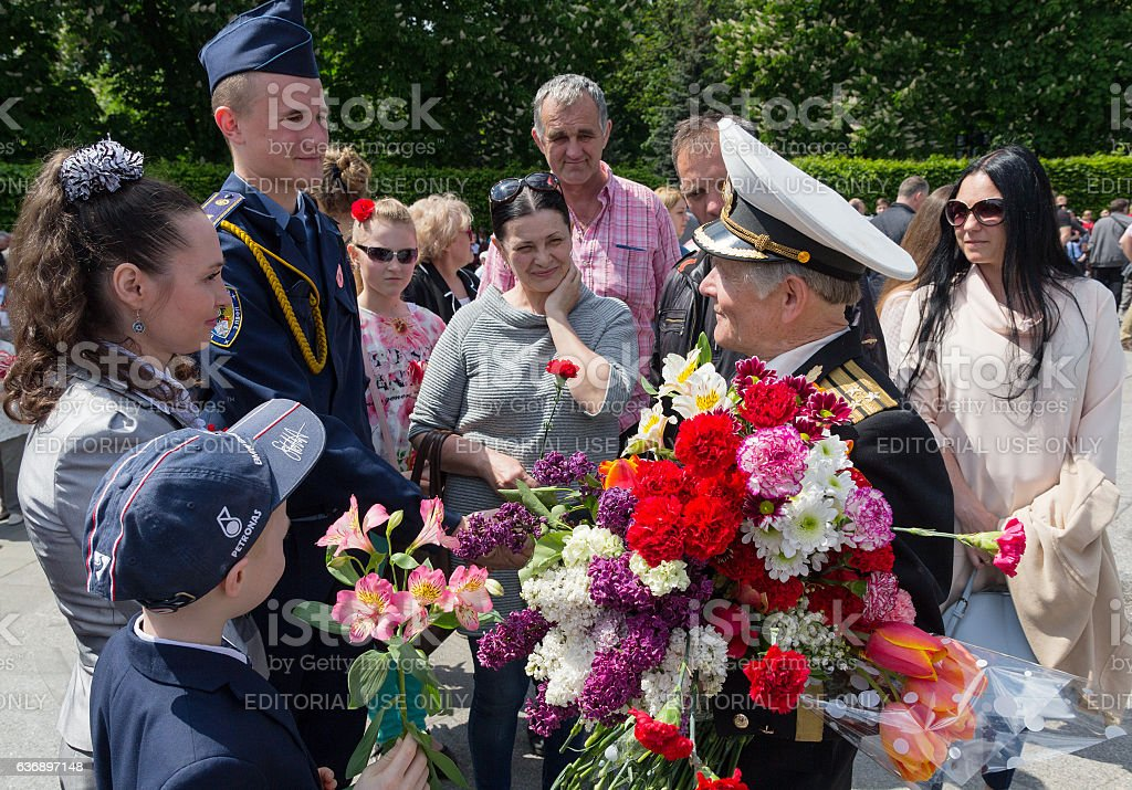 Citizens congratulate veterans of the Second World War. Kiev, Ukraine stock photo