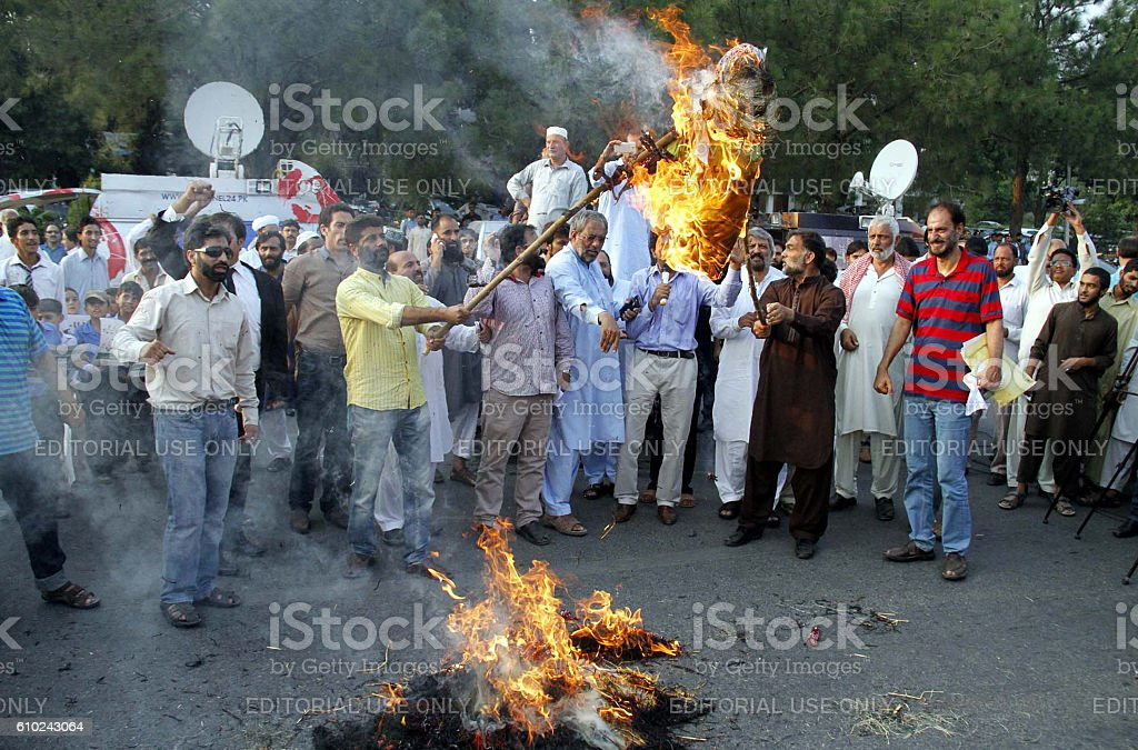 Citizens protesting against brutality by Indian Army stock photo