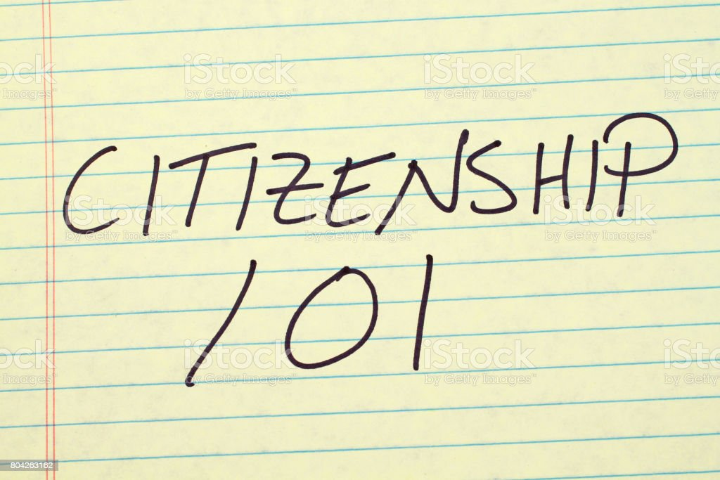Citizenship 101 On A Yellow Legal Pad stock photo