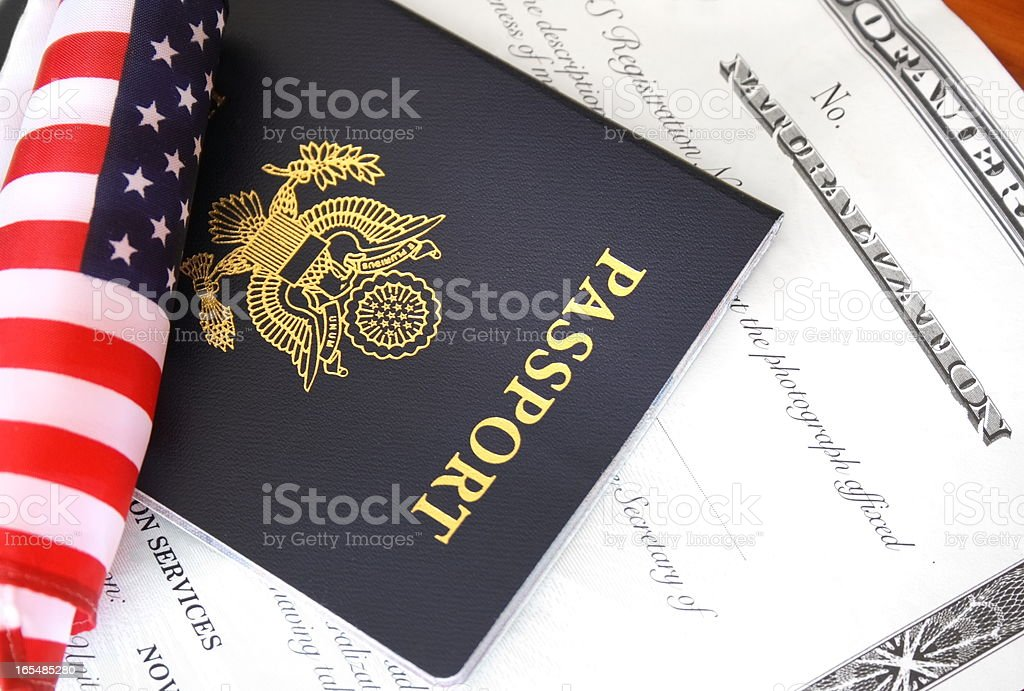 Citizenship documents stock photo