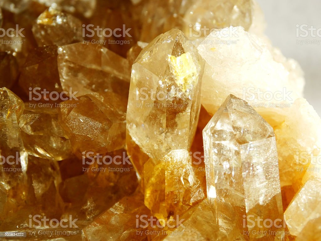 citrine geode geological crystals stock photo