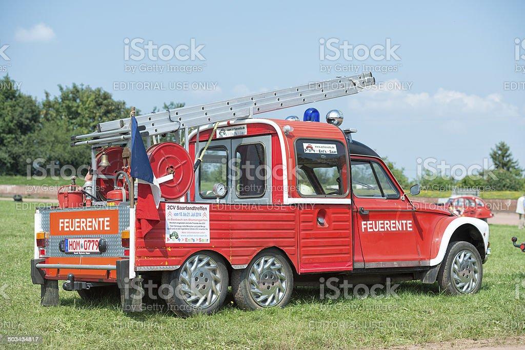 Citroen 2CV Fire Engine stock photo