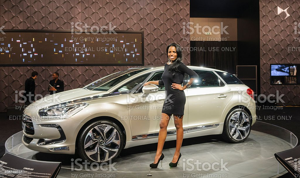 Citroen DS5 with model stock photo