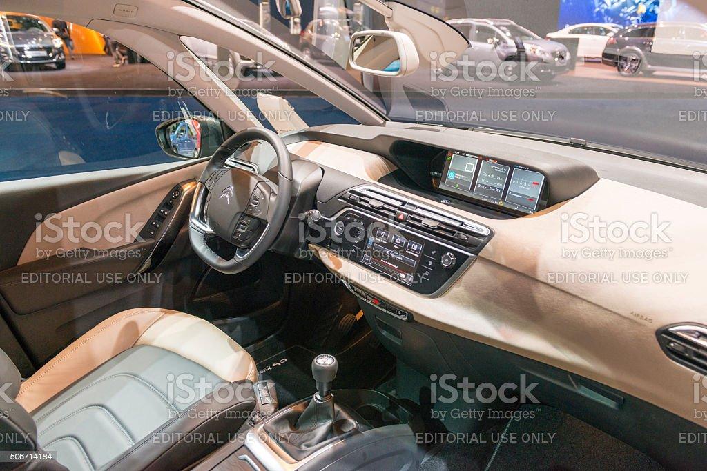 Citroen Grand C4 Picasso MPV interior stock photo