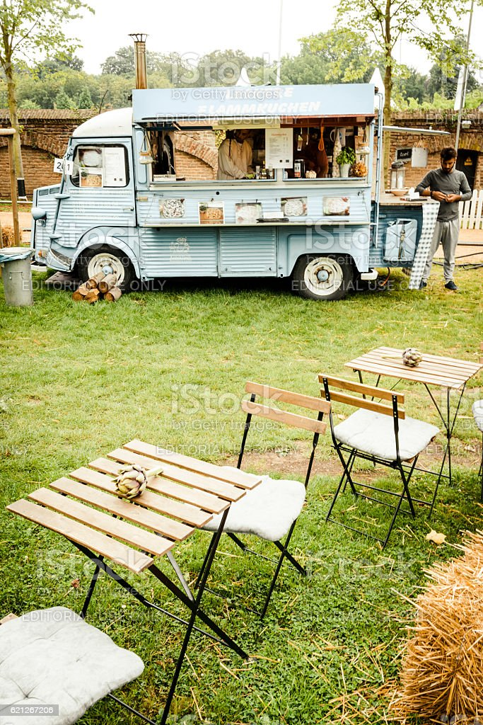 Citroen HY classic panel van food truck in a field stock photo
