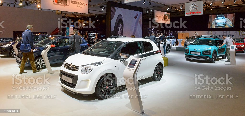 Citroen motor show stand with the C1 and Cactus stock photo