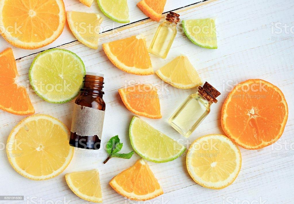 Citrus essential oil. stock photo