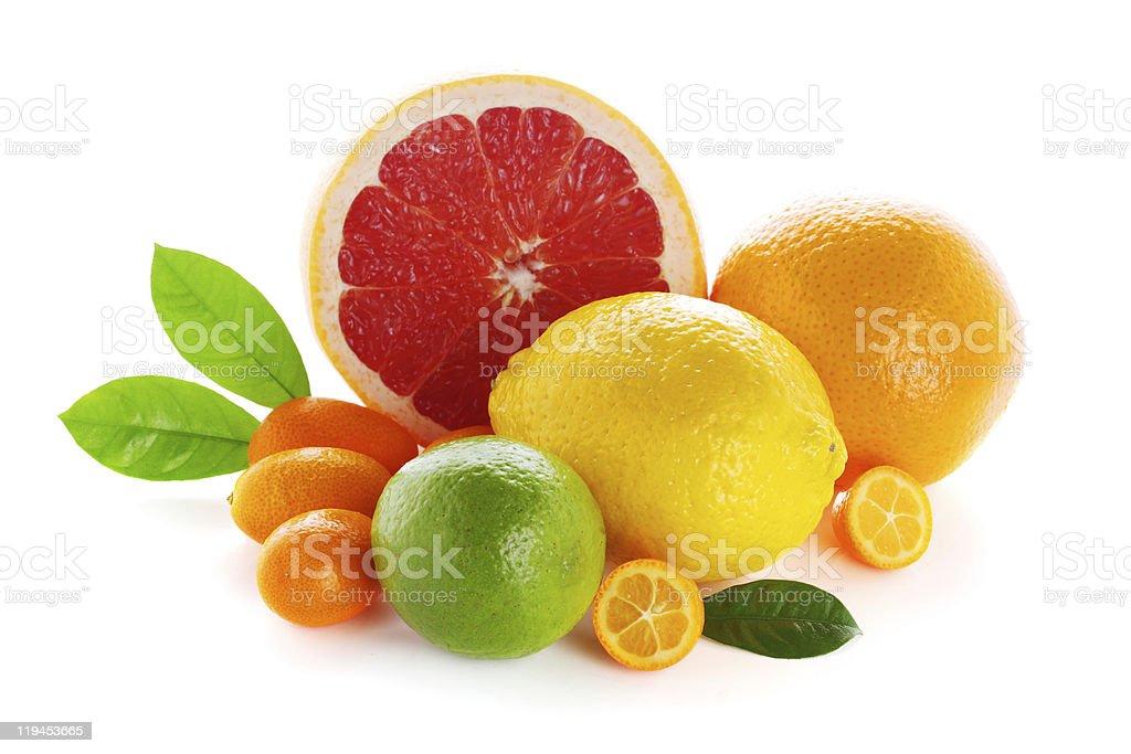 Citrus fresh fruit isolated on a white background royalty-free stock photo