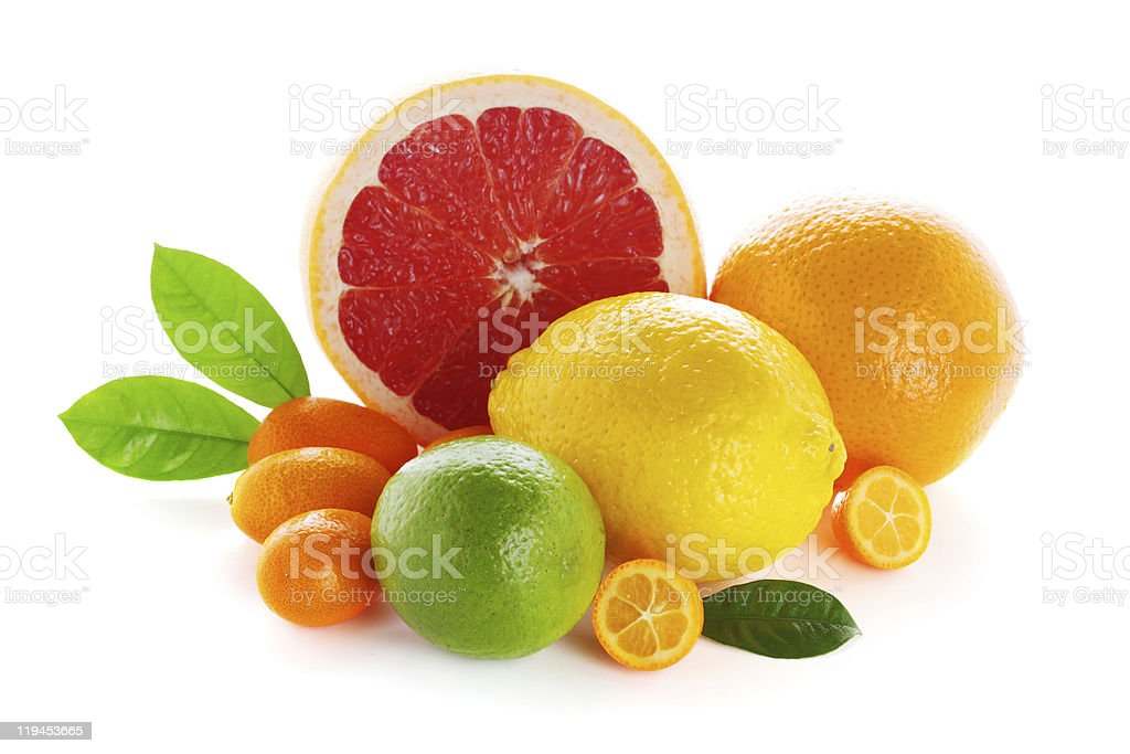 Citrus fresh fruit isolated on a white background stock photo