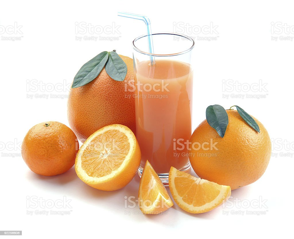 Citrus fruit and juice glass royalty-free stock photo