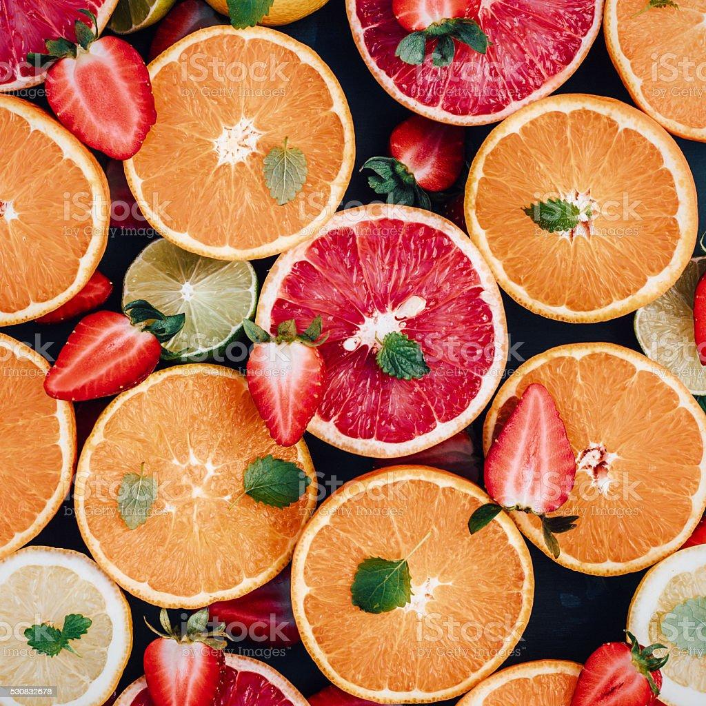 Citrus fruit arrangement from above stock photo