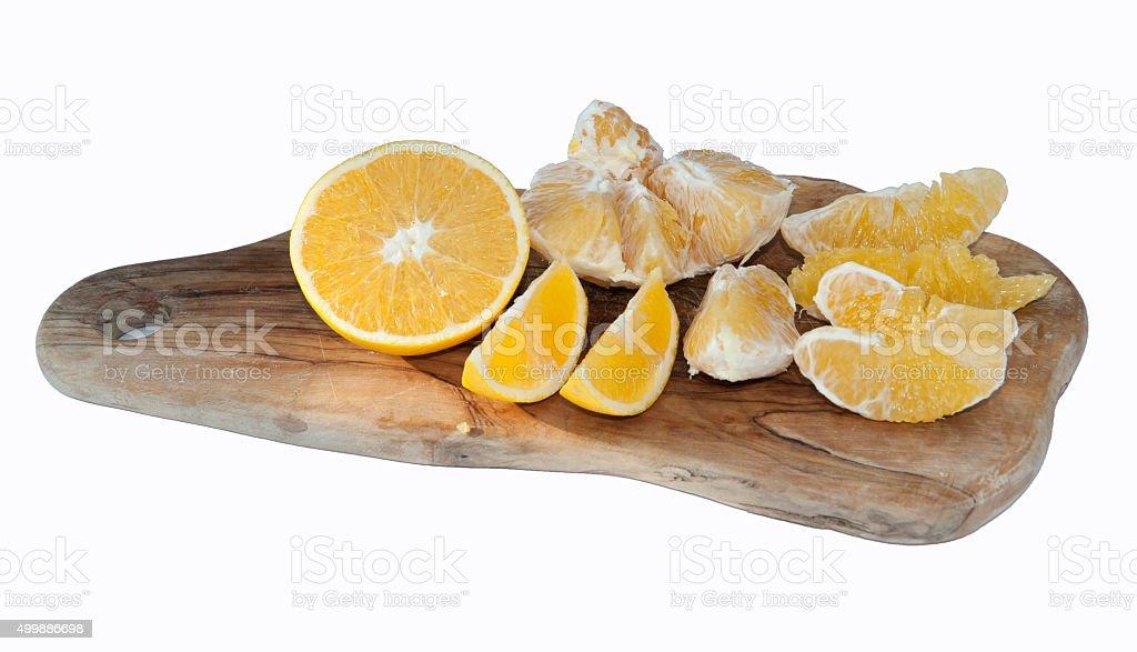 Citrus Fruit orange on wooden plate stock photo