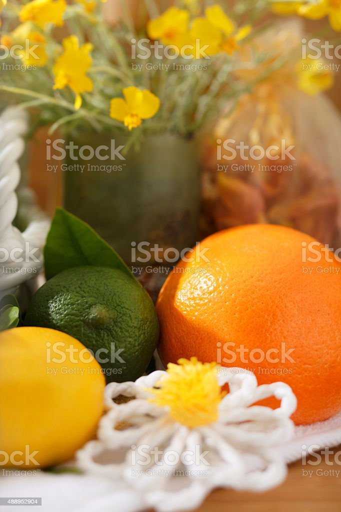 Citrus Fruit Still Life Set with Yellow Flowers royalty-free stock photo