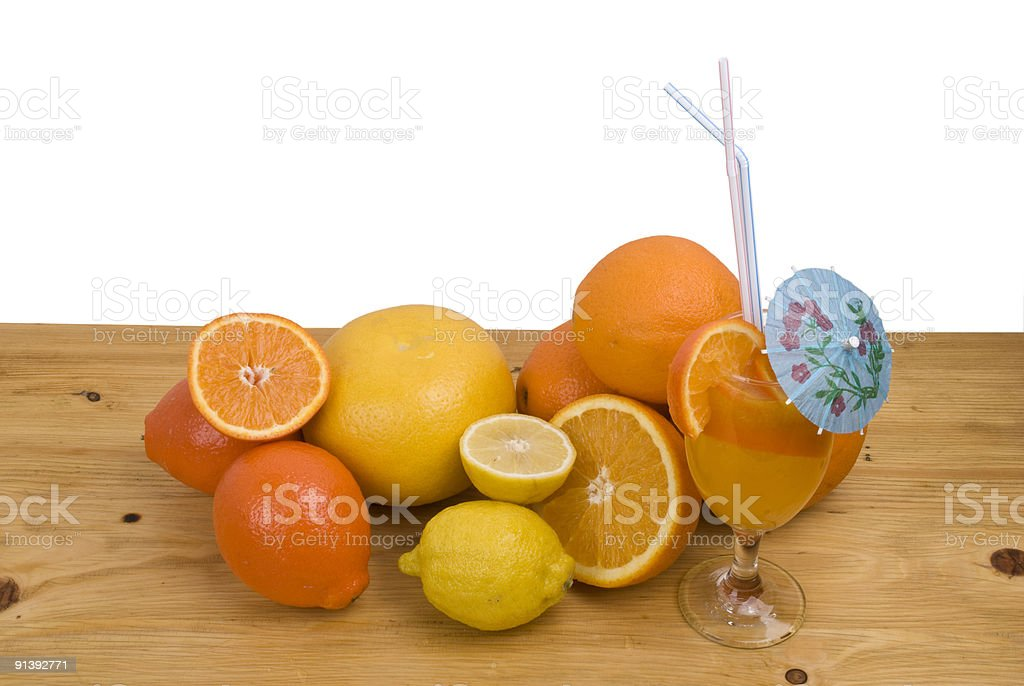 Citrus fruits and juice royalty-free stock photo